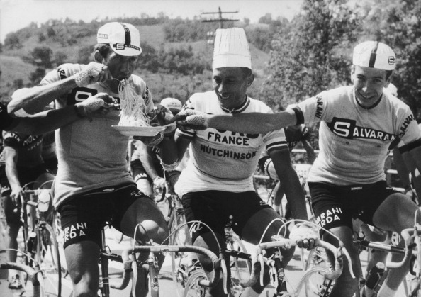 June 3Rd 1966, Giro D Italia, Vittorio Adorni, Jacques Anquetil And Felice Gimondi Eating Spaghetti